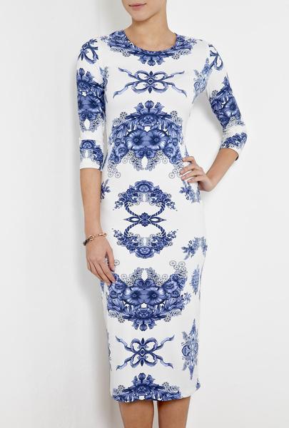 preen white teacup print dress